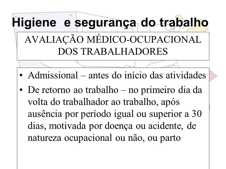 Higiene e segurança do trabalho AVALIAÇÃO MÉDICO-OCUPACIONAL DOS TRABALHADORES Admissional – antes do início das atividades De retorno ao trabalho – n