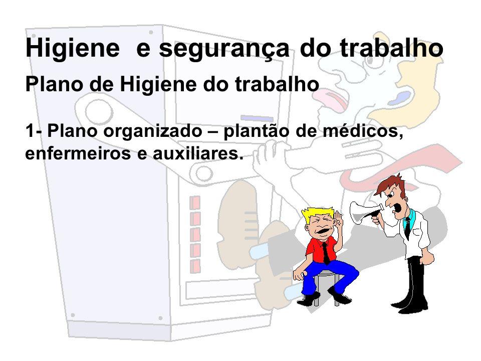 Higiene e segurança do trabalho 2- Serviços adequados Exames admissionais; Primeiros socorros; Registros médicos; Controle de áreas insalubres; Exames periódicos; Atenção às doenças ocupacionais.