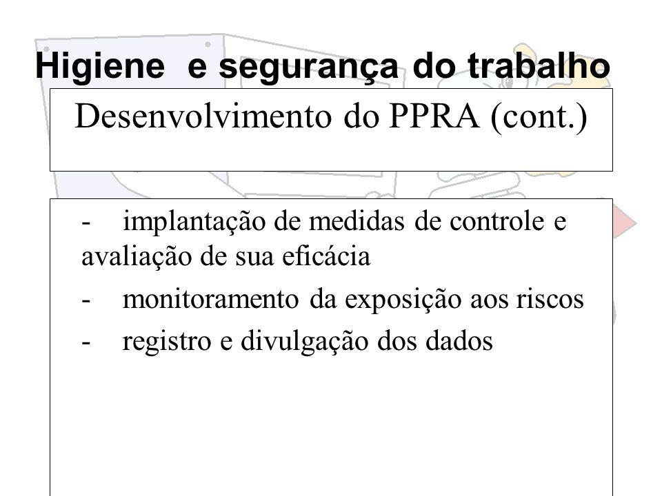 Higiene e segurança do trabalho Desenvolvimento do PPRA (cont.) -implantação de medidas de controle e avaliação de sua eficácia -monitoramento da expo