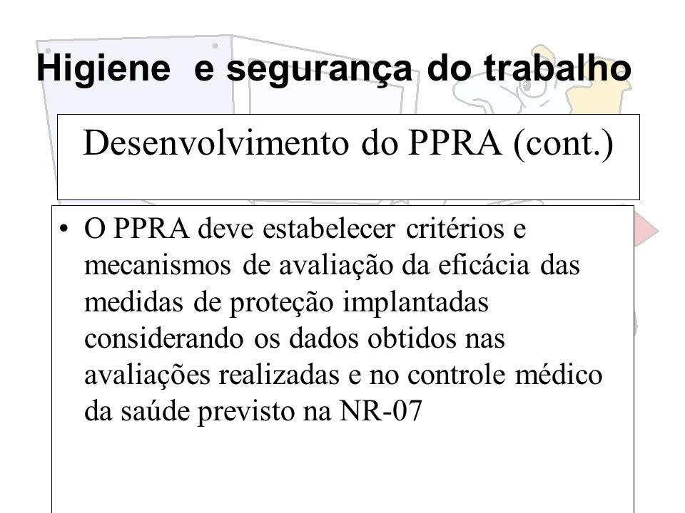 Higiene e segurança do trabalho Desenvolvimento do PPRA (cont.) O PPRA deve estabelecer critérios e mecanismos de avaliação da eficácia das medidas de