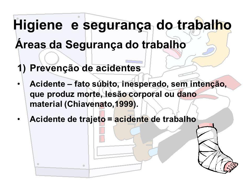 Higiene e segurança do trabalho Áreas da Segurança do trabalho 1)Prevenção de acidentes Acidente – fato súbito, inesperado, sem intenção, que produz m