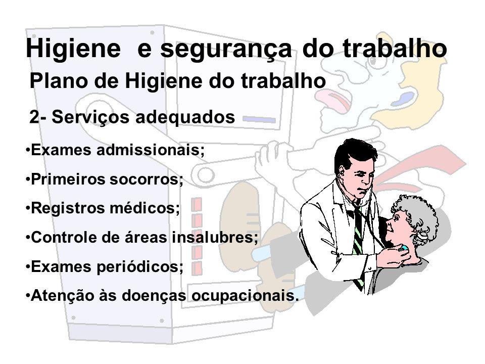 Higiene e segurança do trabalho 2- Serviços adequados Exames admissionais; Primeiros socorros; Registros médicos; Controle de áreas insalubres; Exames