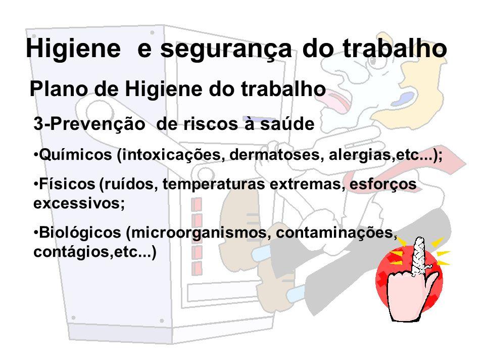 Higiene e segurança do trabalho Plano de Higiene do trabalho 3-Prevenção de riscos à saúde Químicos (intoxicações, dermatoses, alergias,etc...); Físic