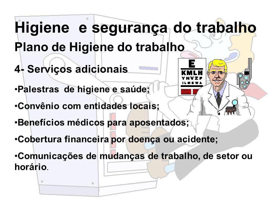 Higiene e segurança do trabalho 4- Serviços adicionais Palestras de higiene e saúde; Convênio com entidades locais; Benefícios médicos para aposentado