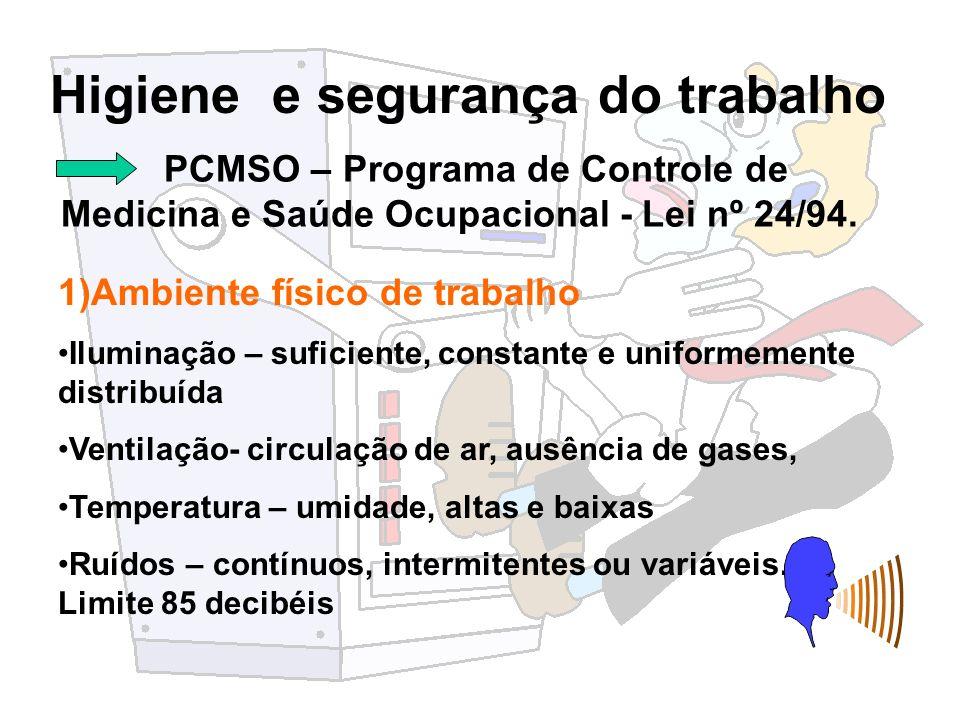 Higiene e segurança do trabalho PCMSO – Programa de Controle de Medicina e Saúde Ocupacional - Lei nº 24/94. 1)Ambiente físico de trabalho Iluminação