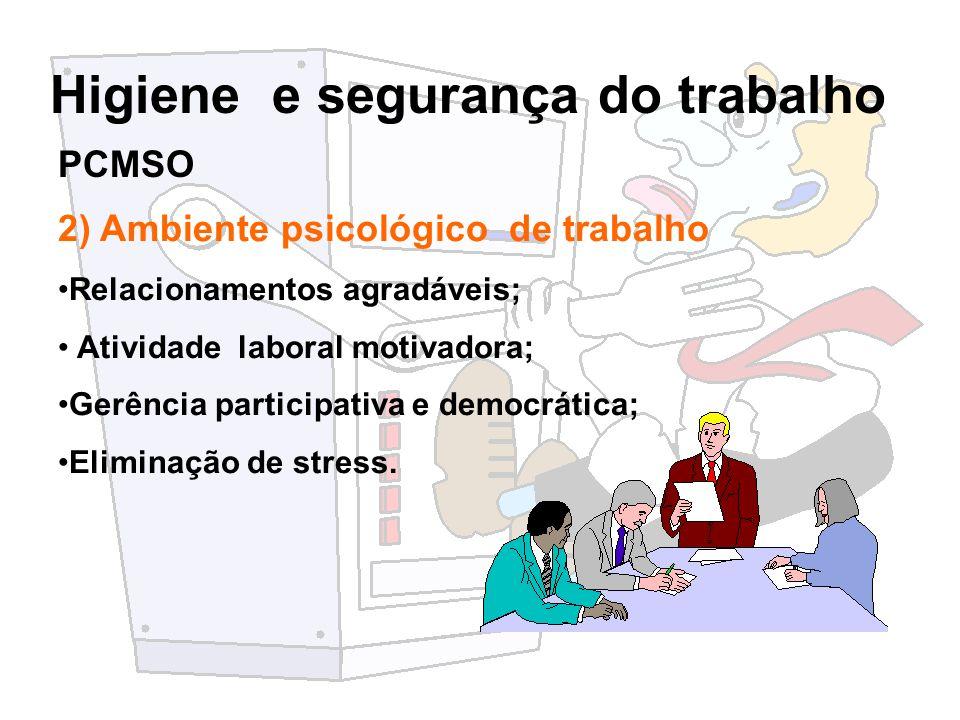 Higiene e segurança do trabalho 2) Ambiente psicológico de trabalho Relacionamentos agradáveis; Atividade laboral motivadora; Gerência participativa e