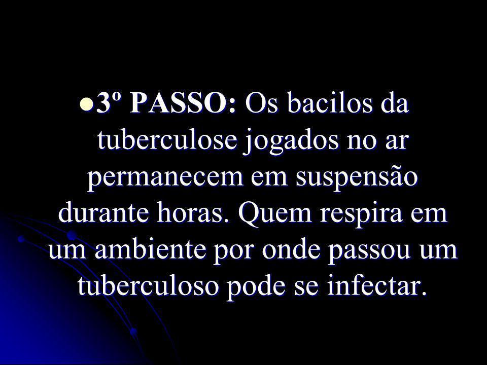 3º PASSO: Os bacilos da tuberculose jogados no ar permanecem em suspensão durante horas. Quem respira em um ambiente por onde passou um tuberculoso po