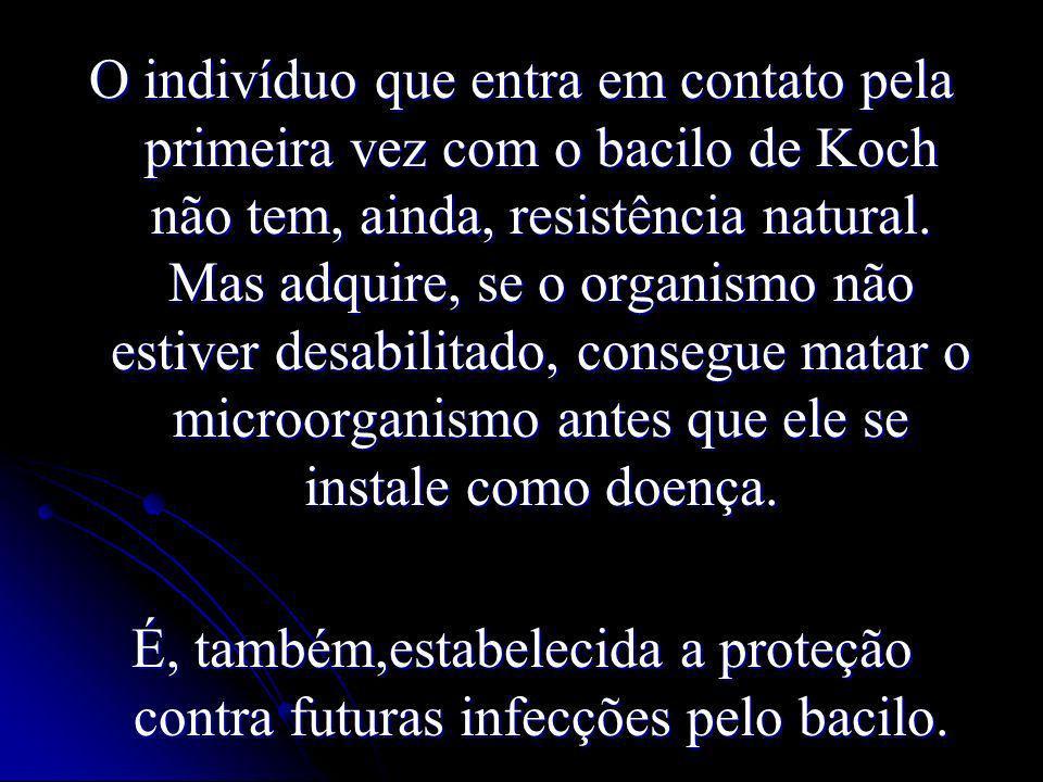 O indivíduo que entra em contato pela primeira vez com o bacilo de Koch não tem, ainda, resistência natural. Mas adquire, se o organismo não estiver d