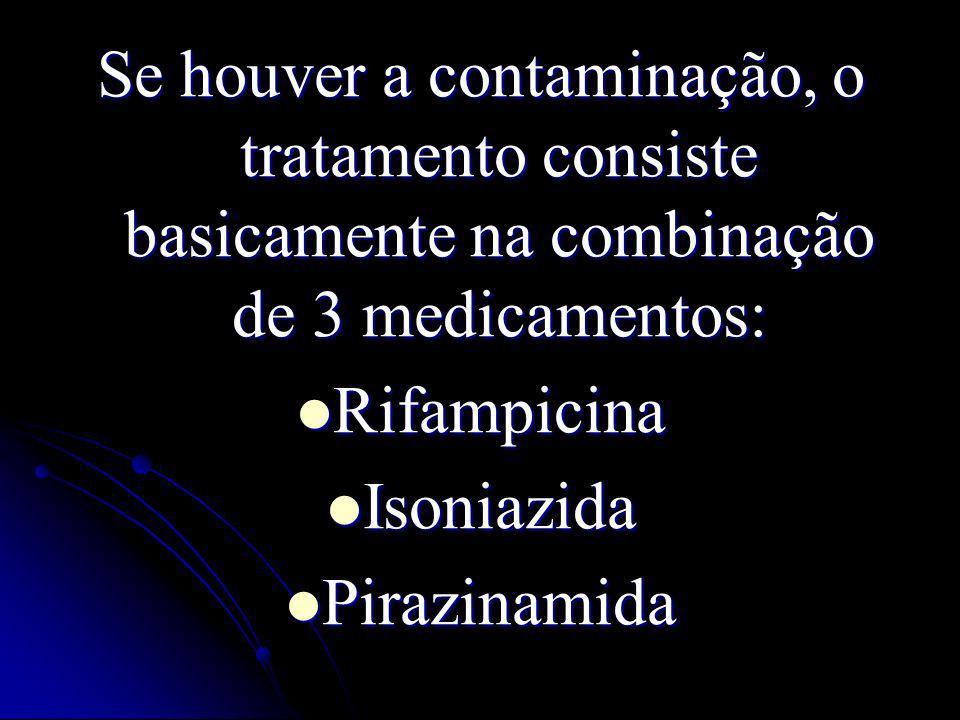 Se houver a contaminação, o tratamento consiste basicamente na combinação de 3 medicamentos: Rifampicina Rifampicina Isoniazida Isoniazida Pirazinamid