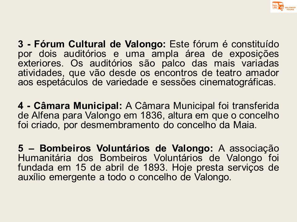 3 - Fórum Cultural de Valongo: Este fórum é constituído por dois auditórios e uma ampla área de exposições exteriores. Os auditórios são palco das mai