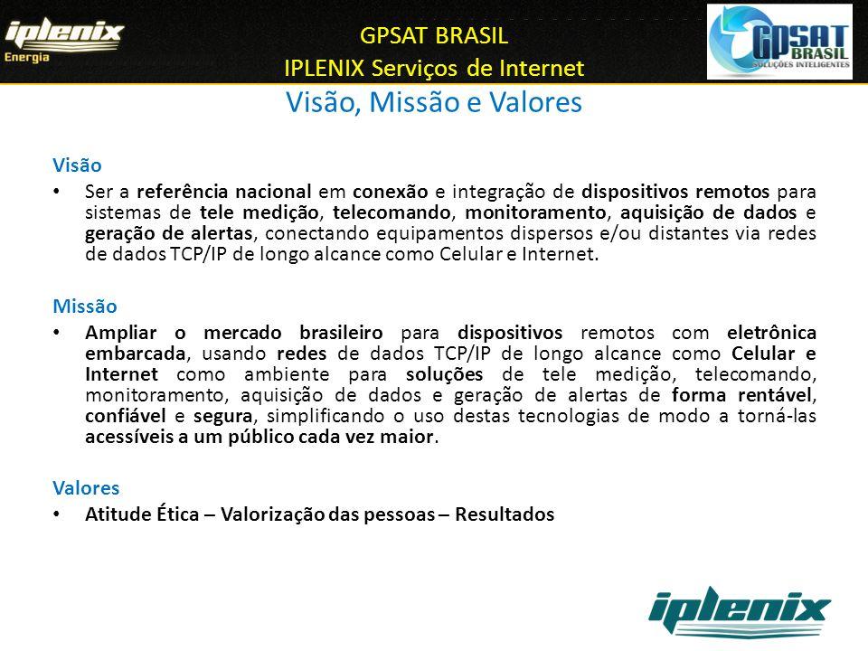 GPSAT BRASIL IPLENIX Serviços de Internet Visão, Missão e Valores Visão Ser a referência nacional em conexão e integração de dispositivos remotos para
