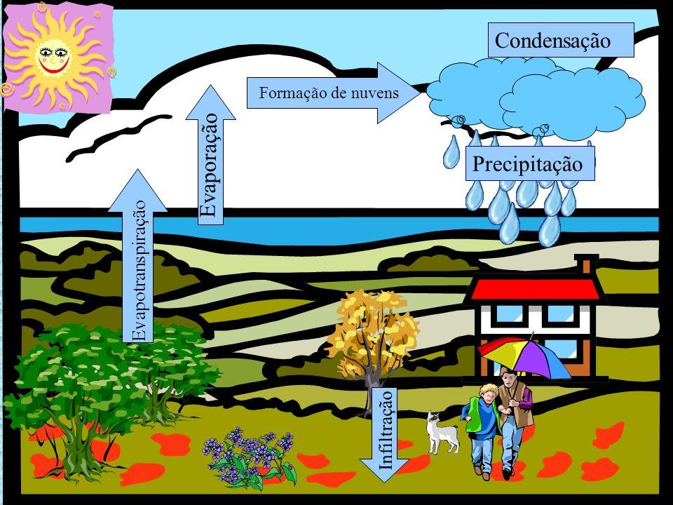 PRECIPITAÇÃO Gotas de água, ou cristais de gelo, que caem das nuvens para o solo.