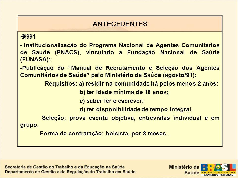 DESPRECARIZAÇÃO DOS VÍNCULOS DE TRABALHO NO SUS Após a constituição federal de 1988, com a redefinição do pacto federativo e a ampliação do papel dos