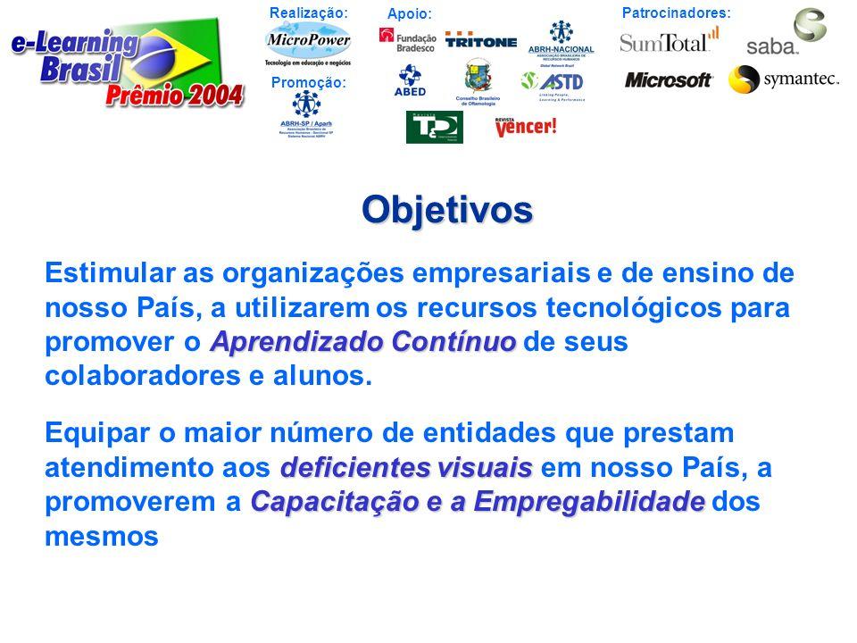 Realização: Patrocinadores: Promoção: Apoio:Objetivos Aprendizado Contínuo Estimular as organizações empresariais e de ensino de nosso País, a utiliza