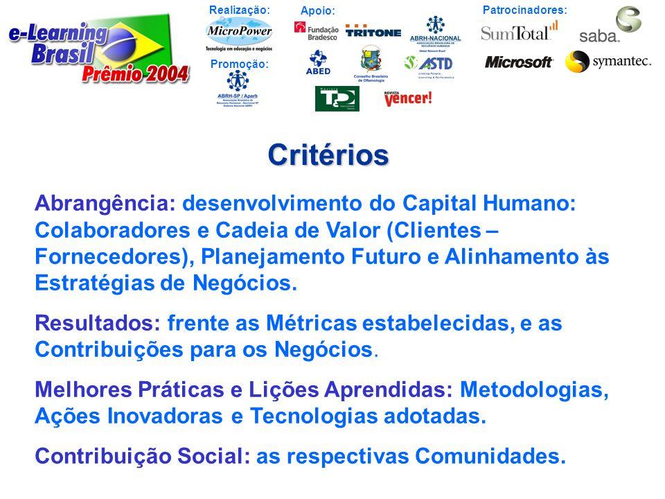 Realização: Patrocinadores: Promoção: Apoio:Critérios Abrangência: desenvolvimento do Capital Humano: Colaboradores e Cadeia de Valor (Clientes – Forn