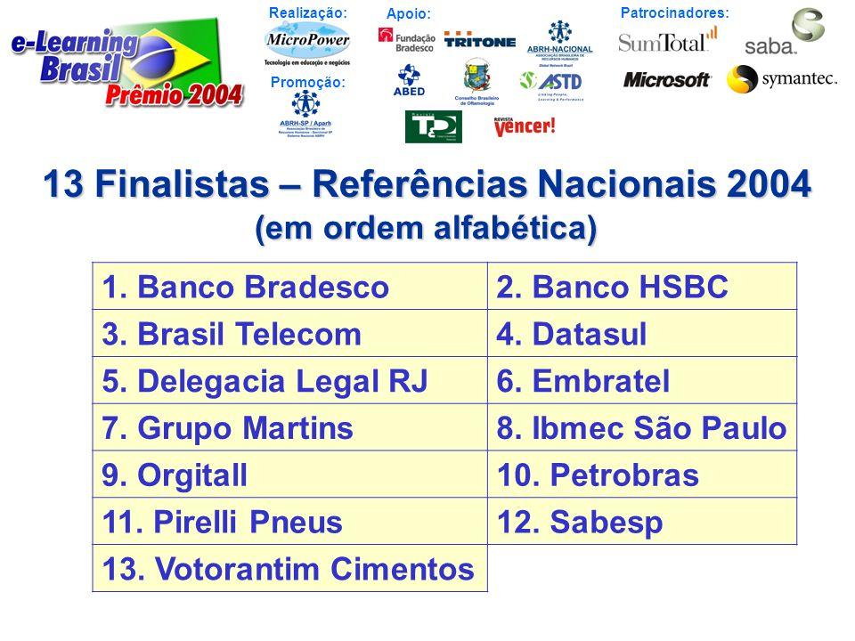 Realização: Patrocinadores: Promoção: Apoio: 13 Finalistas – Referências Nacionais 2004 (em ordem alfabética) 1. Banco Bradesco2. Banco HSBC 3. Brasil