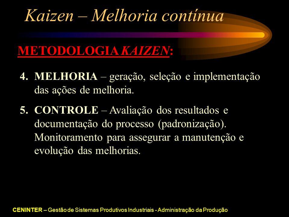 CENINTER – Gestão de Sistemas Produtivos Industriais - Administração da Produção Kaizen – Melhoria contínua METODOLOGIA KAIZEN: 4.MELHORIA – geração, seleção e implementação das ações de melhoria.