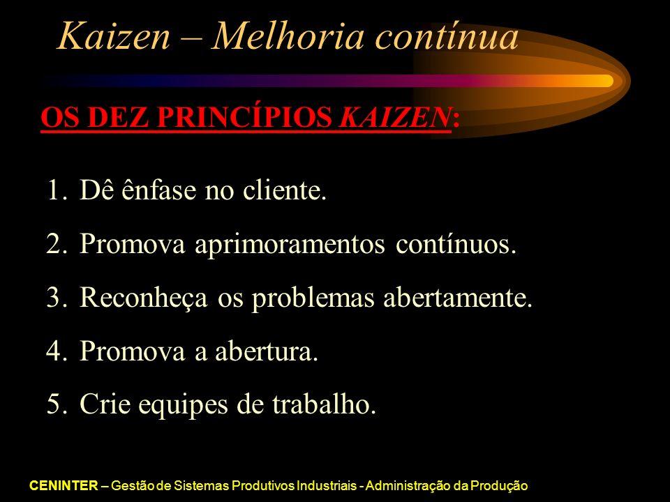 CENINTER – Gestão de Sistemas Produtivos Industriais - Administração da Produção Kaizen – Melhoria contínua OS DEZ PRINCÍPIOS KAIZEN: 1.Dê ênfase no cliente.
