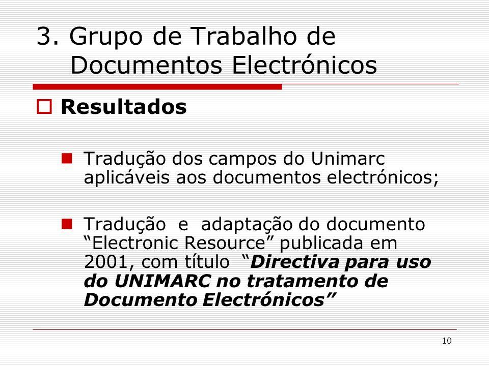 10 3. Grupo de Trabalho de Documentos Electrónicos Resultados Tradução dos campos do Unimarc aplicáveis aos documentos electrónicos; Tradução e adapta