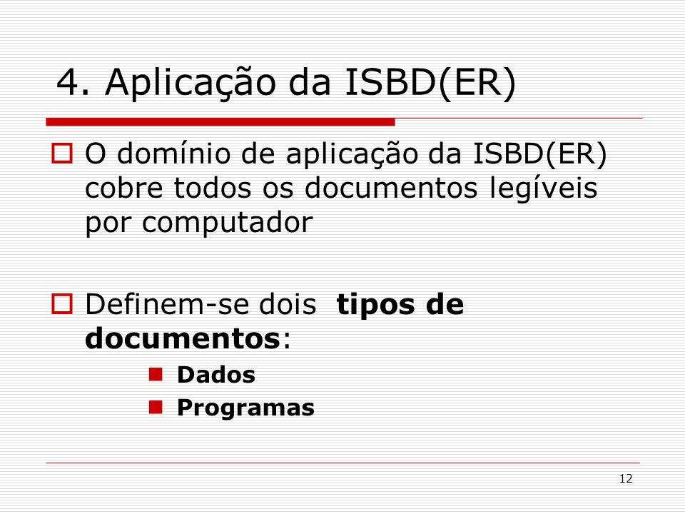 12 4. Aplicação da ISBD(ER) O domínio de aplicação da ISBD(ER) cobre todos os documentos legíveis por computador Definem-se dois tipos de documentos: