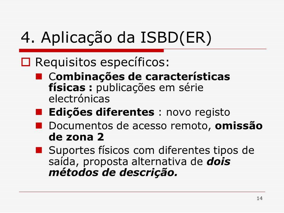 14 4. Aplicação da ISBD(ER) Requisitos específicos: Combinações de características físicas : publicações em série electrónicas Edições diferentes : no