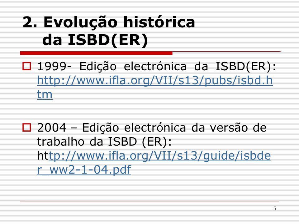 5 2. Evolução histórica da ISBD(ER) 1999- Edição electrónica da ISBD(ER): http://www.ifla.org/VII/s13/pubs/isbd.h tm http://www.ifla.org/VII/s13/pubs/