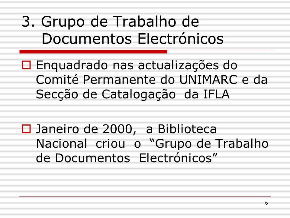 6 3. Grupo de Trabalho de Documentos Electrónicos Enquadrado nas actualizações do Comité Permanente do UNIMARC e da Secção de Catalogação da IFLA Jane