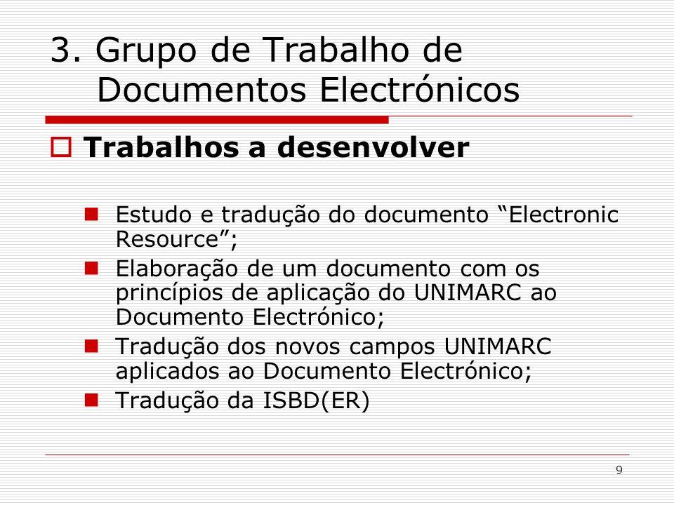 9 3. Grupo de Trabalho de Documentos Electrónicos Trabalhos a desenvolver Estudo e tradução do documento Electronic Resource; Elaboração de um documen
