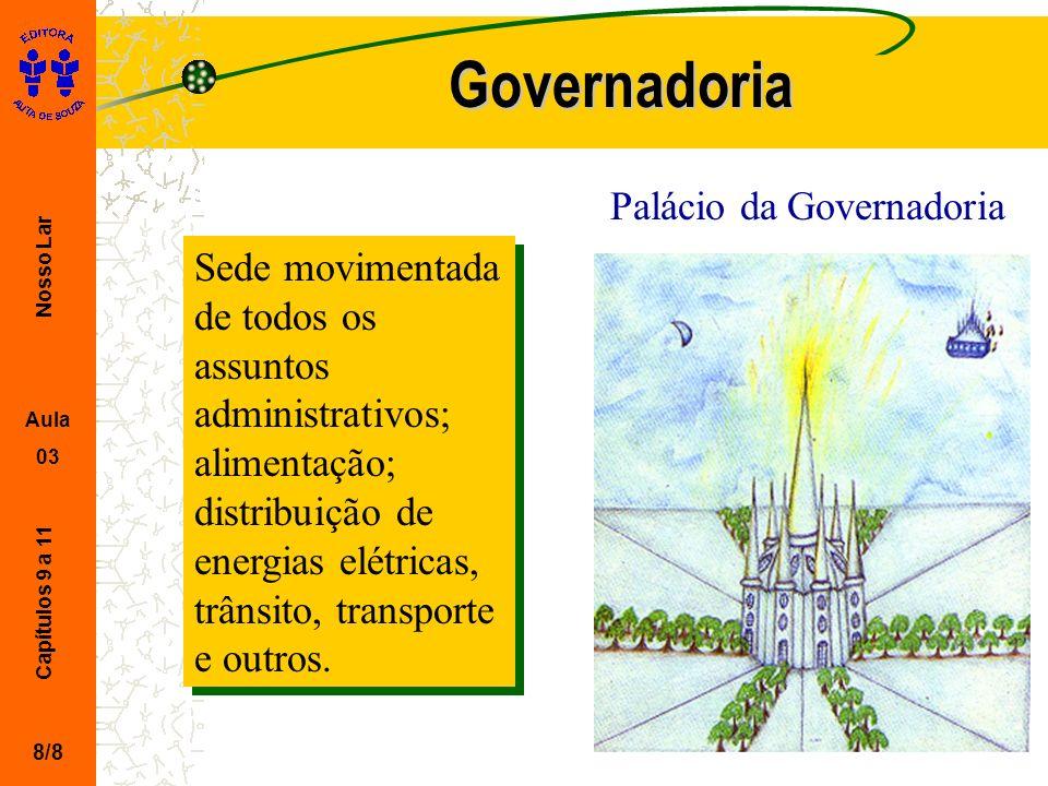Nosso Lar Aula 03 Capítulos 9 a 11 Governadoria 8/8 Sede movimentada de todos os assuntos administrativos; alimentação; distribuição de energias elétr