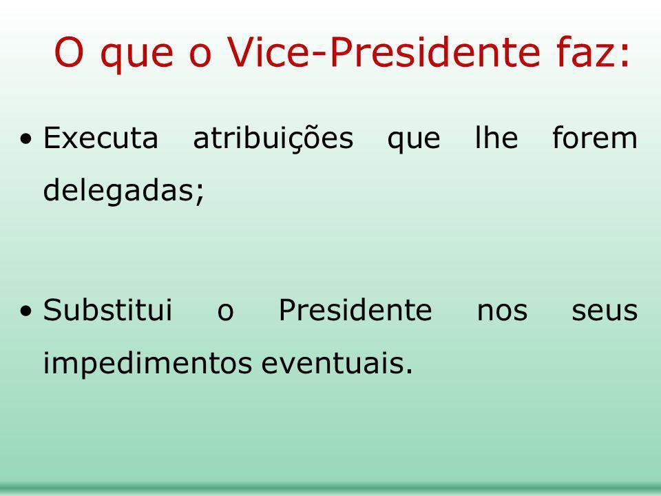 O que o Vice-Presidente faz: Executa atribuições que lhe forem delegadas; Substitui o Presidente nos seus impedimentos eventuais.
