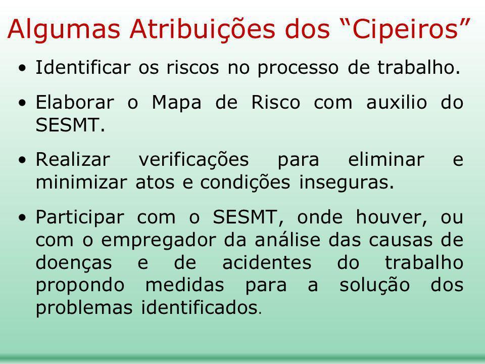 Algumas Atribuições dos Cipeiros Identificar os riscos no processo de trabalho. Elaborar o Mapa de Risco com auxilio do SESMT. Realizar verificações p