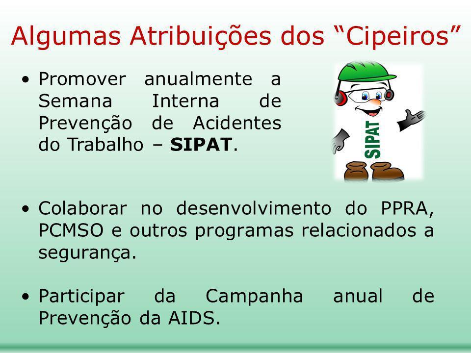 Colaborar no desenvolvimento do PPRA, PCMSO e outros programas relacionados a segurança. Participar da Campanha anual de Prevenção da AIDS. Promover a