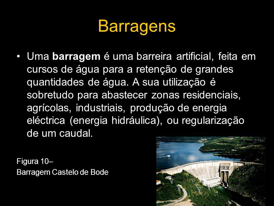 Barragens Uma barragem é uma barreira artificial, feita em cursos de água para a retenção de grandes quantidades de água. A sua utilização é sobretudo