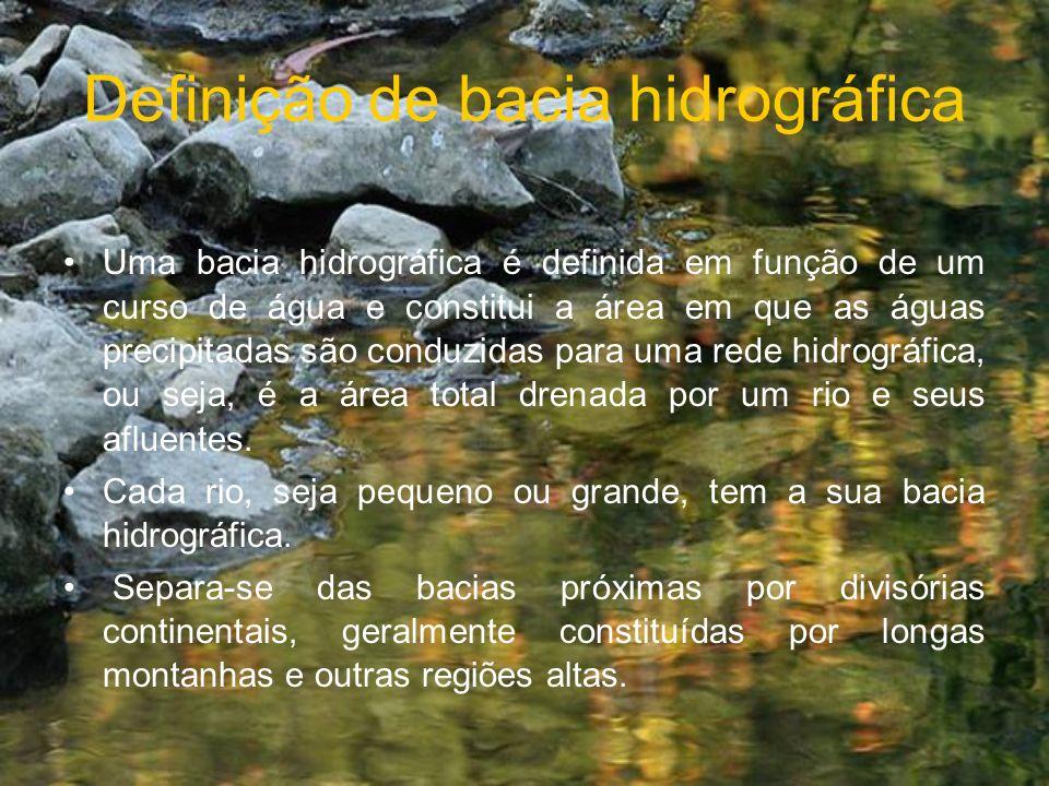 Definição de bacia hidrográfica Uma bacia hidrográfica é definida em função de um curso de água e constitui a área em que as águas precipitadas são co