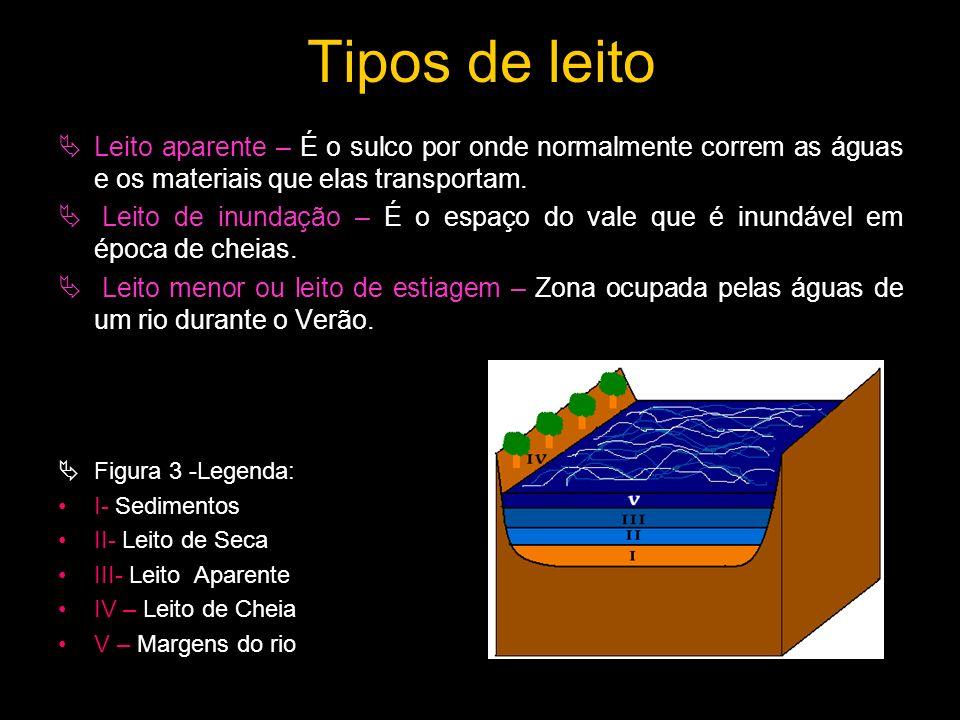 Tipos de leito Leito aparente – É o sulco por onde normalmente correm as águas e os materiais que elas transportam. Leito de inundação – É o espaço do