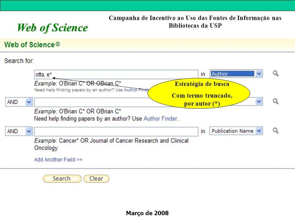 Março de 2008 Estratégia de busca Com termo truncado, por autor (*) Web of Science Campanha de Incentivo ao Uso das Fontes de Informação nas Bibliotecas da USP