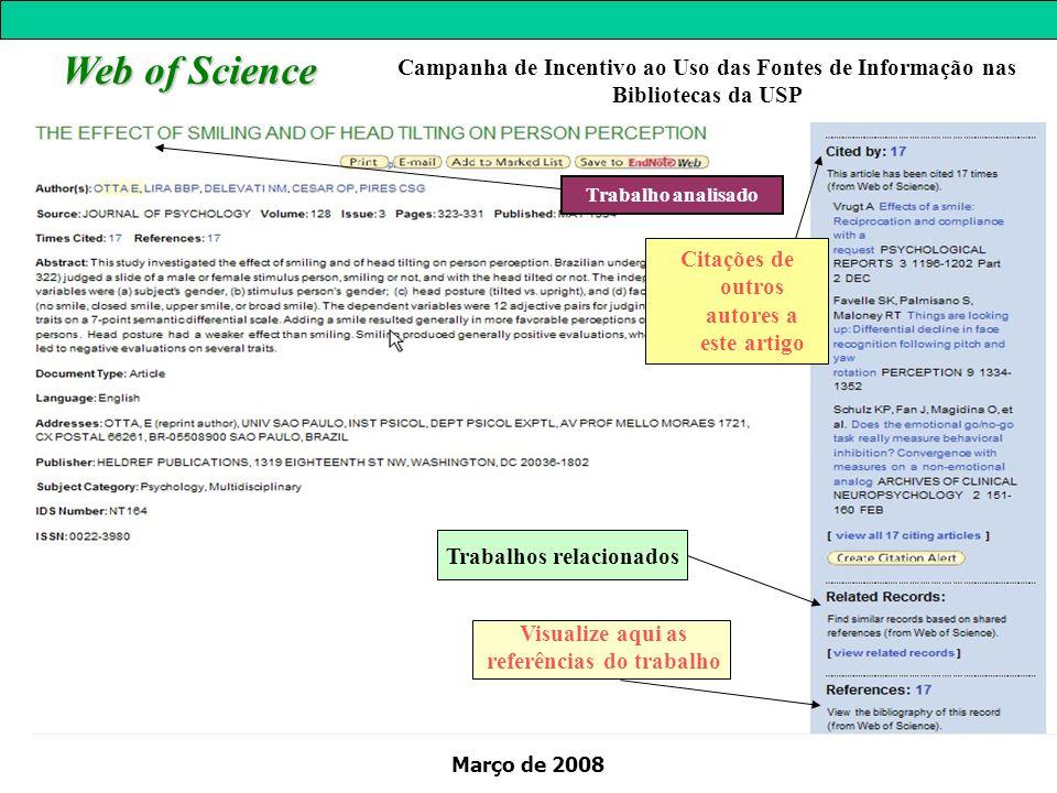 Março de 2008 Web of Science Trabalho analisado Visualize aqui as referências do trabalho Trabalhos relacionados Campanha de Incentivo ao Uso das Font