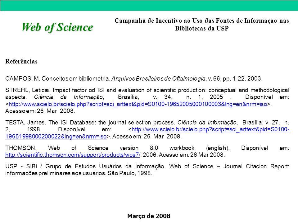 Março de 2008 Web of Science Referências CAMPOS, M. Conceitos em bibliometria. Arquivos Brasileiros de Oftalmologia, v. 66, pp. 1-22. 2003. STREHL, Le