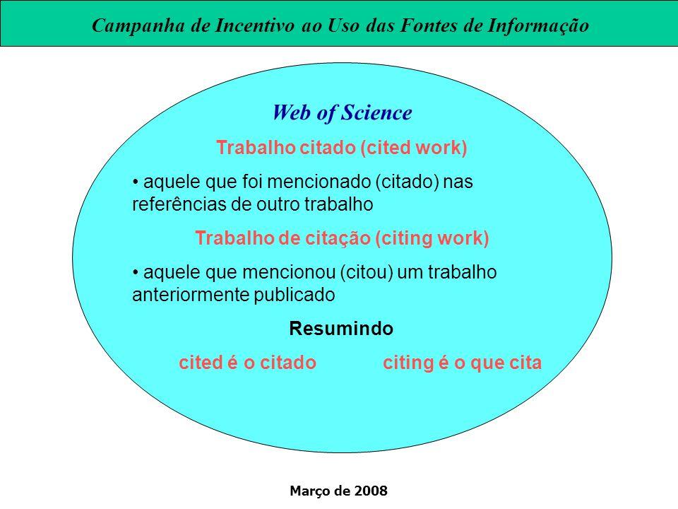 Março de 2008 Web of Science Trabalho citado (cited work) aquele que foi mencionado (citado) nas referências de outro trabalho Trabalho de citação (ci