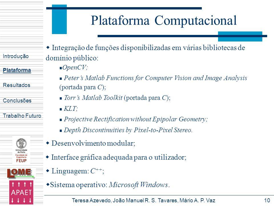 Teresa Azevedo, João Manuel R. S. Tavares, Mário A. P. Vaz10 Plataforma Computacional Introdução Plataforma Conclusões Trabalho Futuro Resultados Inte