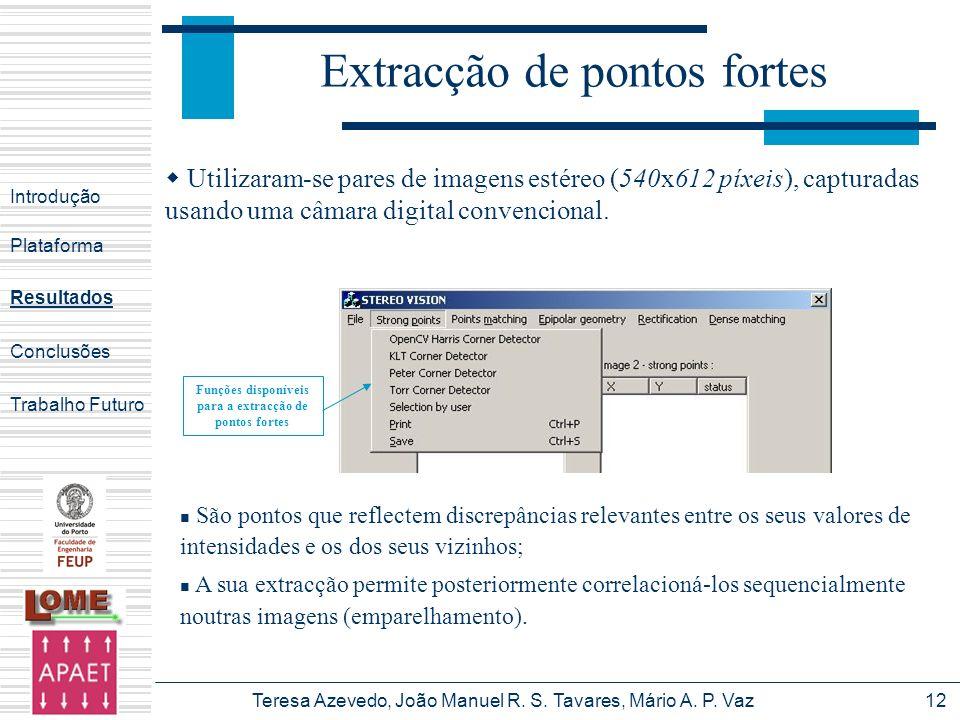 Teresa Azevedo, João Manuel R. S. Tavares, Mário A. P. Vaz12 Introdução Plataforma Conclusões Trabalho Futuro Resultados Extracção de pontos fortes Fu