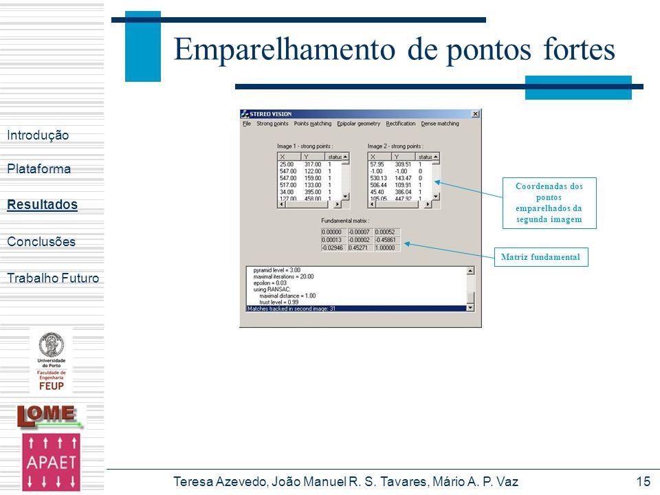 Teresa Azevedo, João Manuel R. S. Tavares, Mário A. P. Vaz15 Emparelhamento de pontos fortes Introdução Plataforma Conclusões Trabalho Futuro Resultad