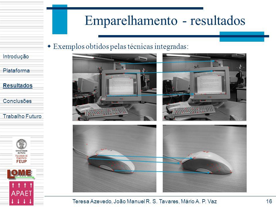 Teresa Azevedo, João Manuel R. S. Tavares, Mário A. P. Vaz16 Emparelhamento - resultados Introdução Plataforma Conclusões Trabalho Futuro Resultados E