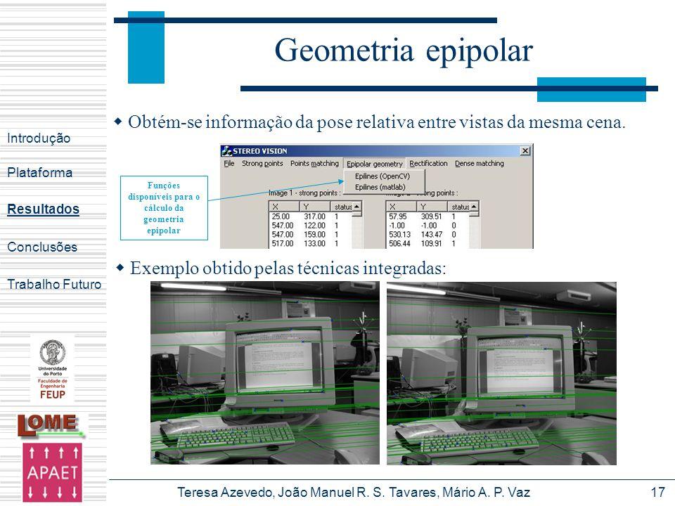 Teresa Azevedo, João Manuel R. S. Tavares, Mário A. P. Vaz17 Geometria epipolar Introdução Plataforma Conclusões Trabalho Futuro Resultados Funções di