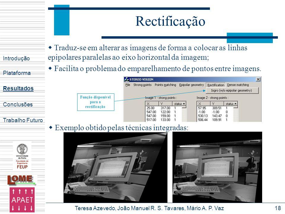 Teresa Azevedo, João Manuel R. S. Tavares, Mário A. P. Vaz18 Rectificação Introdução Plataforma Conclusões Trabalho Futuro Resultados Função disponíve