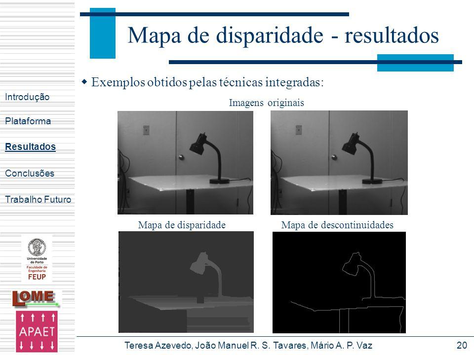 Teresa Azevedo, João Manuel R. S. Tavares, Mário A. P. Vaz20 Mapa de disparidade - resultados Introdução Plataforma Conclusões Trabalho Futuro Resulta