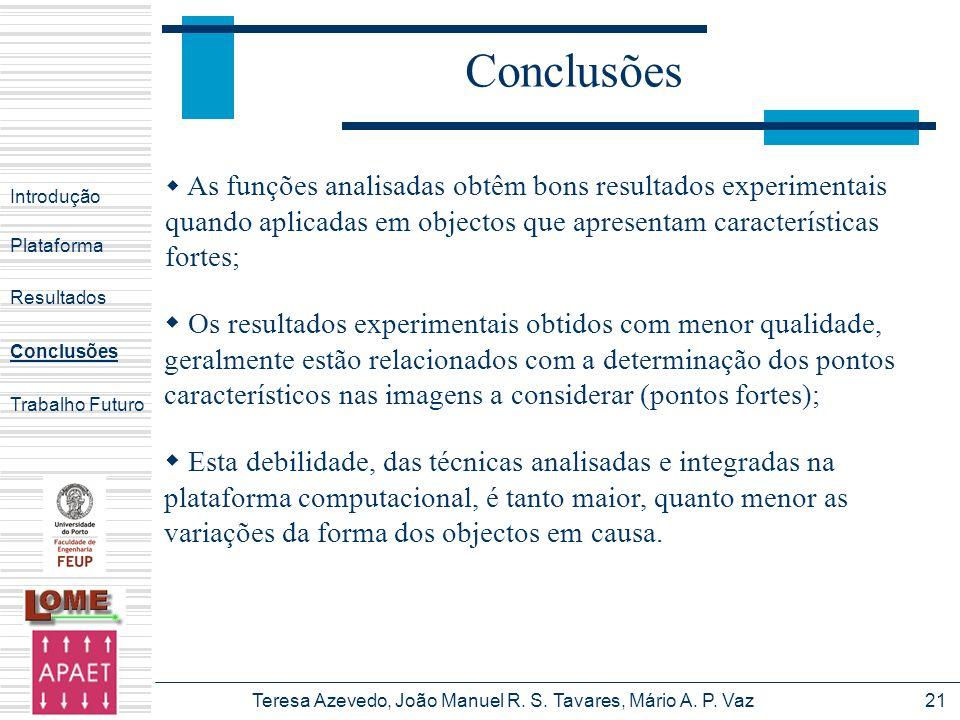 Teresa Azevedo, João Manuel R. S. Tavares, Mário A. P. Vaz21 Conclusões Introdução Plataforma Conclusões Trabalho Futuro Resultados As funções analisa