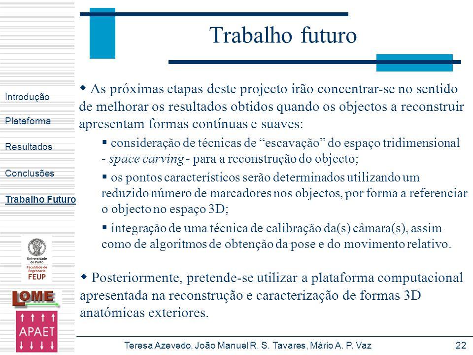 Teresa Azevedo, João Manuel R. S. Tavares, Mário A. P. Vaz22 Trabalho futuro Introdução Plataforma Conclusões Trabalho Futuro Resultados Posteriorment