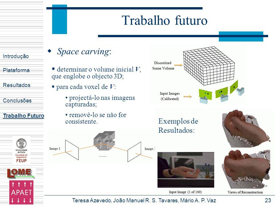 Teresa Azevedo, João Manuel R. S. Tavares, Mário A. P. Vaz23 Trabalho futuro Introdução Plataforma Conclusões Trabalho Futuro Resultados Space carving