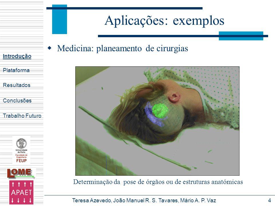 Teresa Azevedo, João Manuel R. S. Tavares, Mário A. P. Vaz4 Aplicações: exemplos Medicina: planeamento de cirurgias Introdução Plataforma Conclusões T